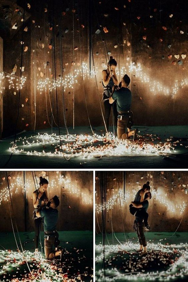 romantic marriage proposal ideas with string lights
