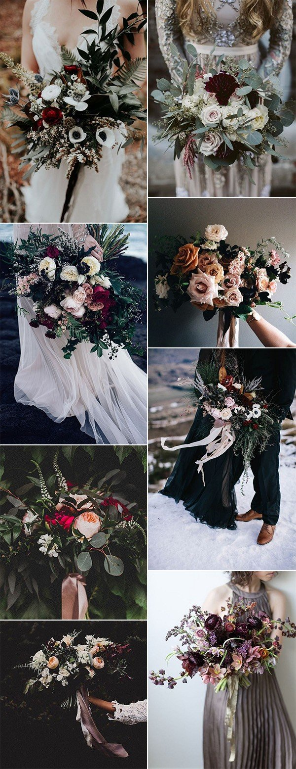romantic moody wedding bouquet ideas for 2018 trends