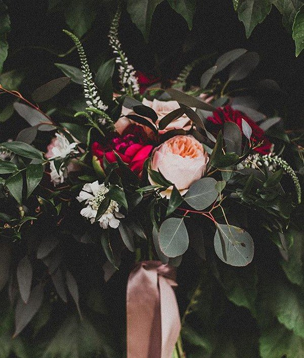 romantic pink and burgundy moody wedding bouquet
