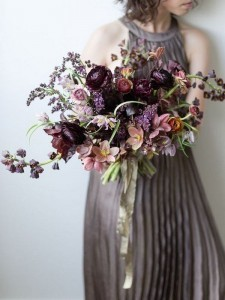 shades of purple moody wedding bouquet
