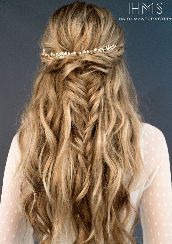 twisted half up half down bridal hairstyle