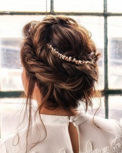 updo wedding hairstyle with crown braid
