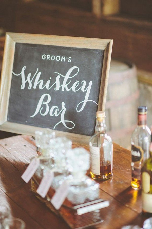 wedding reception whiskey bar ideas