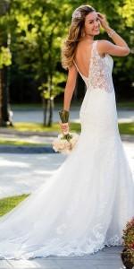 Stella York lace wedding dress with open v back