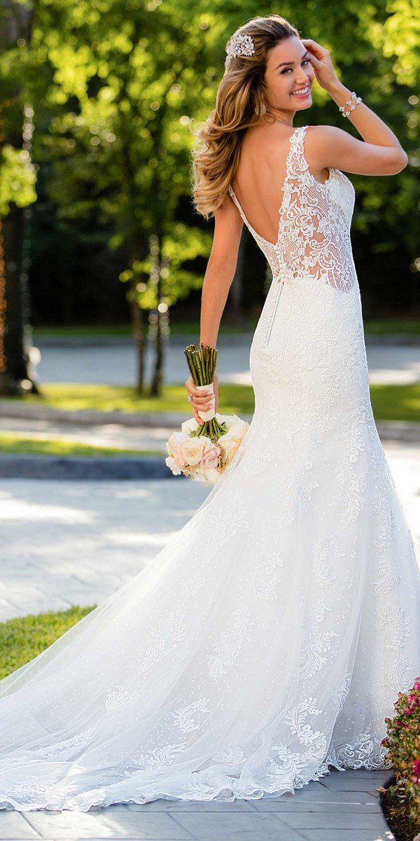 Stella York lace wedding dress with open v back
