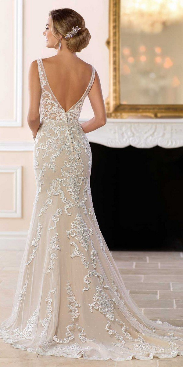 Stella York v neck lace wedding dress for 2018-back view