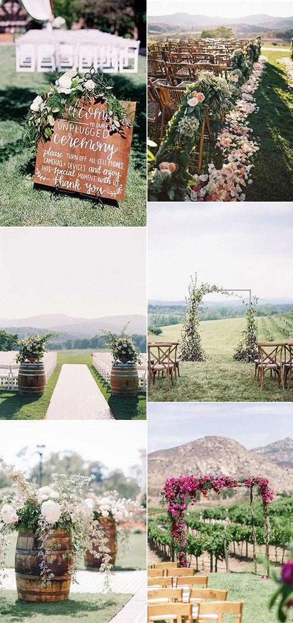 chic outdoor wedding ceremony decoration ideas