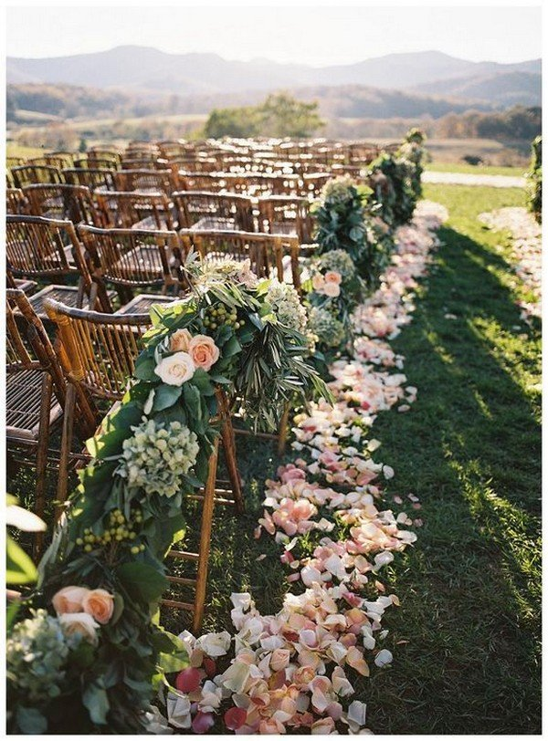 chic vineyard themed wedding ceremony aisle ideas