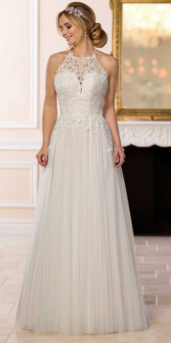 elegant boho lace wedding dress with halter neckline from Stella York