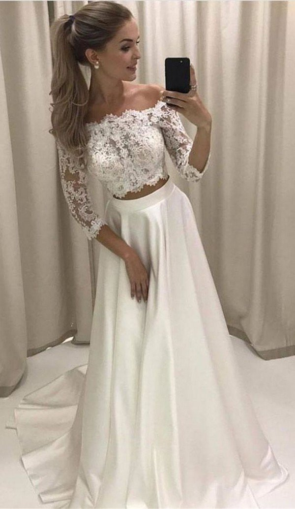 elegant two piece wedding dress with lace sleeves