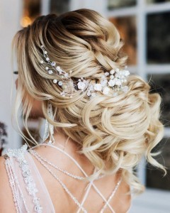 gorgeous updo wedding hairstyle with headpiece