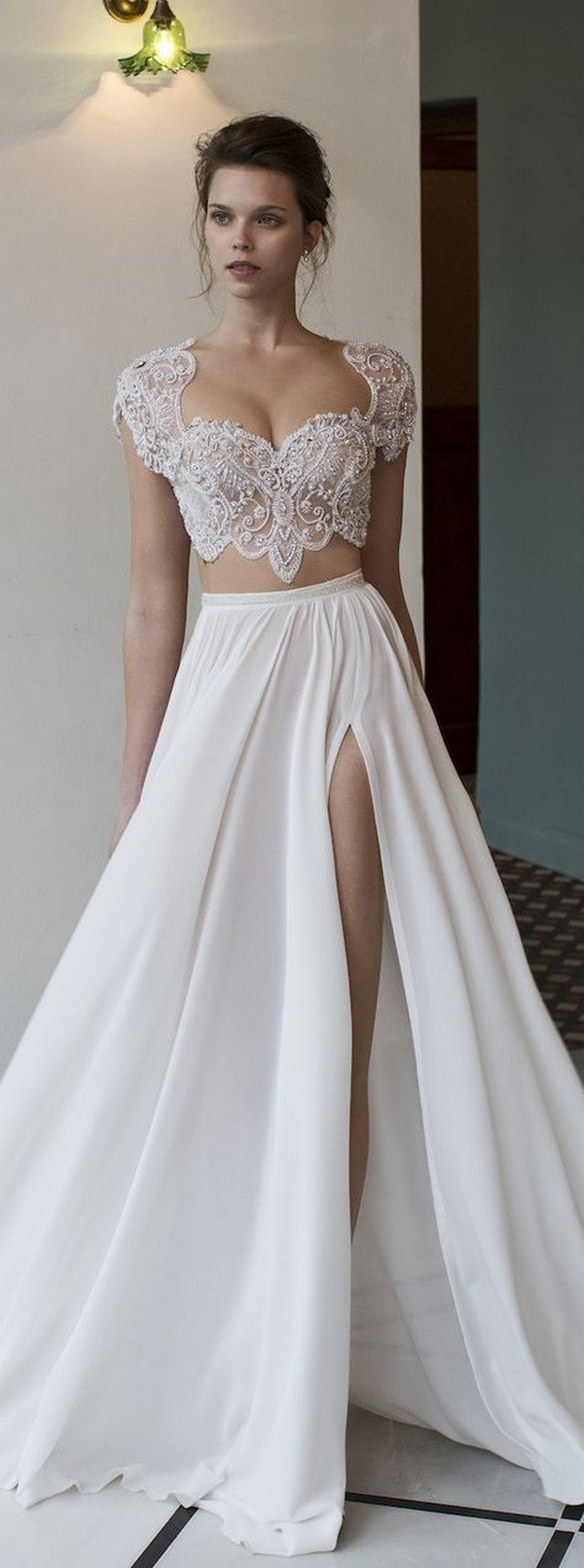 pretty two piece wedding dress