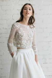 romantic two piece wedding dress with lace top