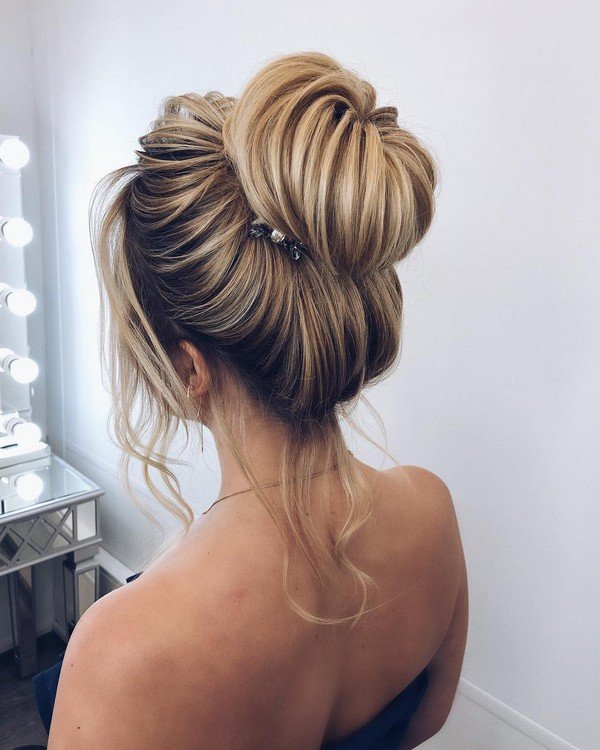 simple and elegant updo bridal hairstyle