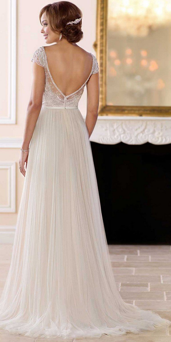 simple vintage beaded wedding dress with cap sleeves from Stella York-back view