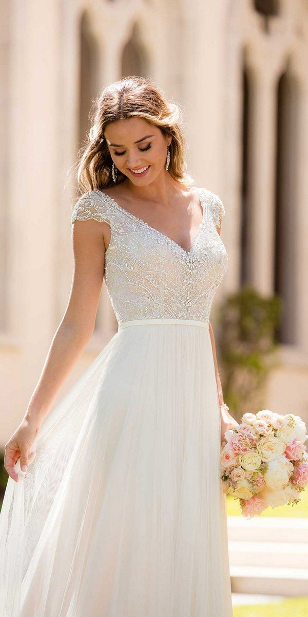 simple vintage beaded wedding dress with cap sleeves from Stella York