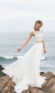 sleeveless two piece wedding dress with brush train