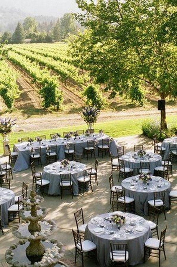 vineyard themed wedding table arrangement ideas