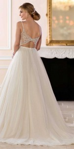 vintage beaded ball gown wedding dress with spaghetti straps from Stella York-back view