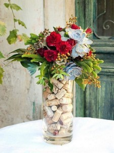 wedding centerpiece with wine corks