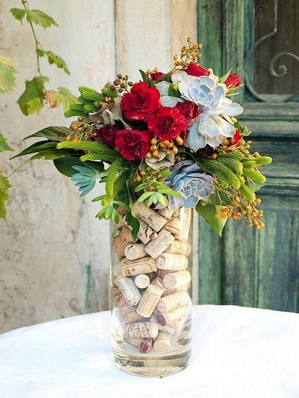 wedding centerpiece with wine corks
