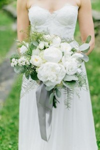 white and green wedding bouquet with gray ribbon