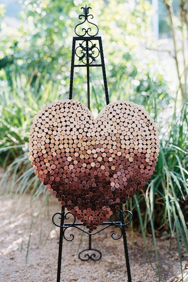 wine corks heart wedding decorations