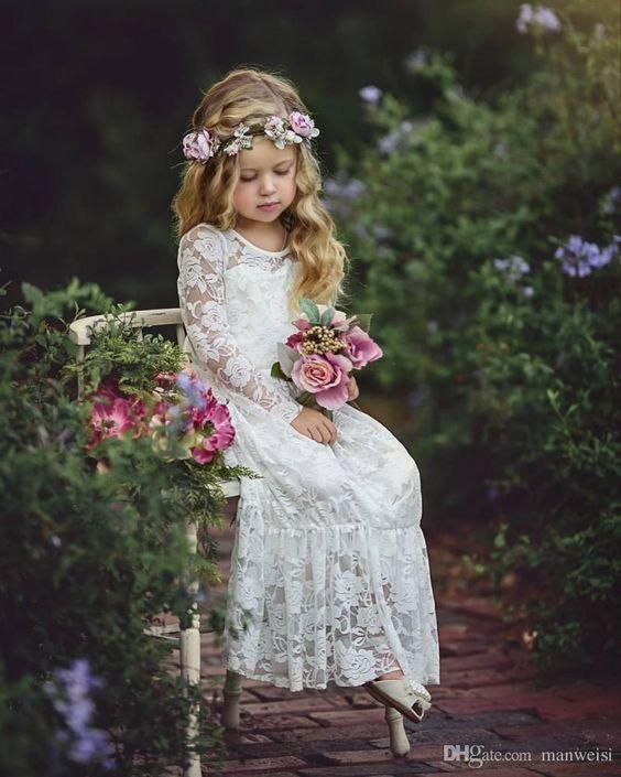 boho flower girl dress with long sleeves
