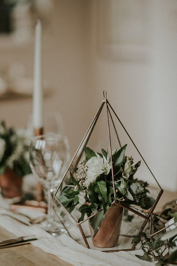 boho geometric greenery wedding centerpiece ideas