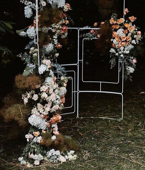 boho themed geometric wedding backdrop