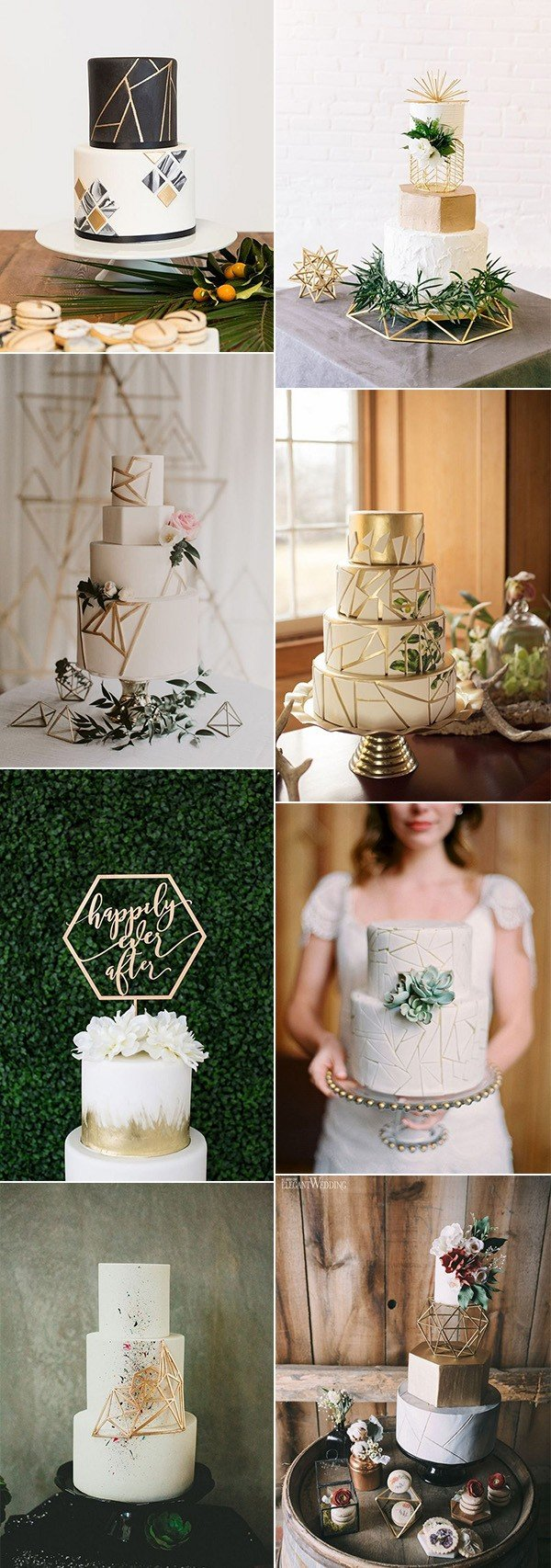 chic geometric wedding cakes