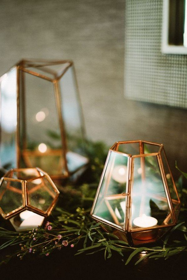 chic gold geometric lantern wedding decorations