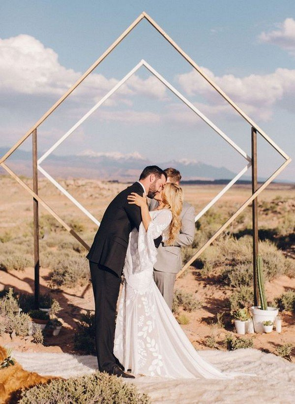 geometric diamond design wedding backdrop ideas