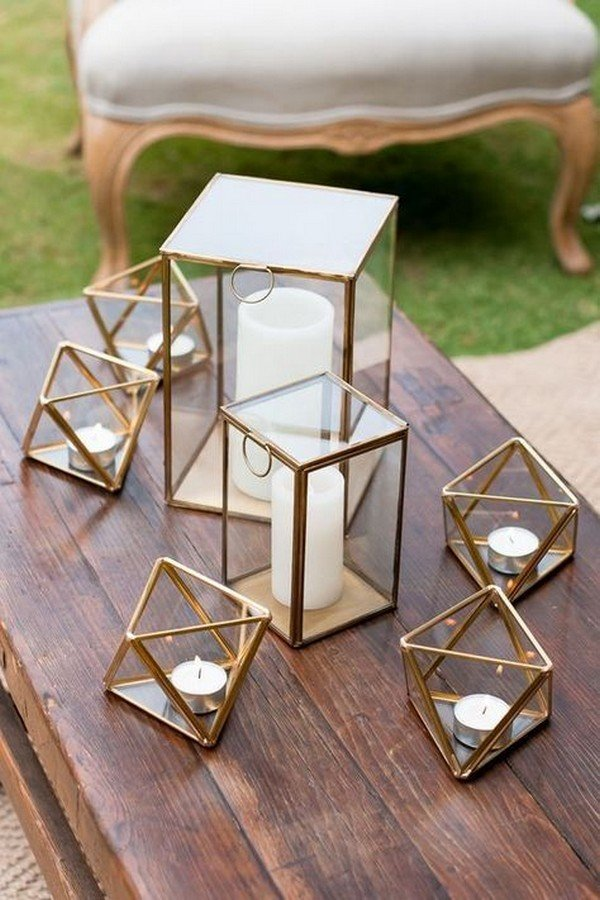 geometric lanterns for wedding decorations