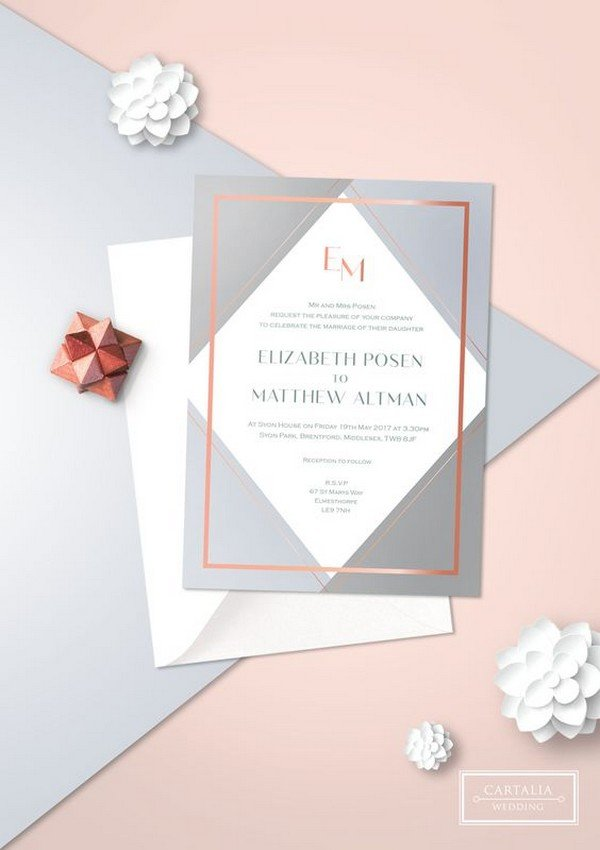 geometric rose gold foil wedding invitations
