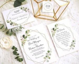 geometric wedding invitations with greenery