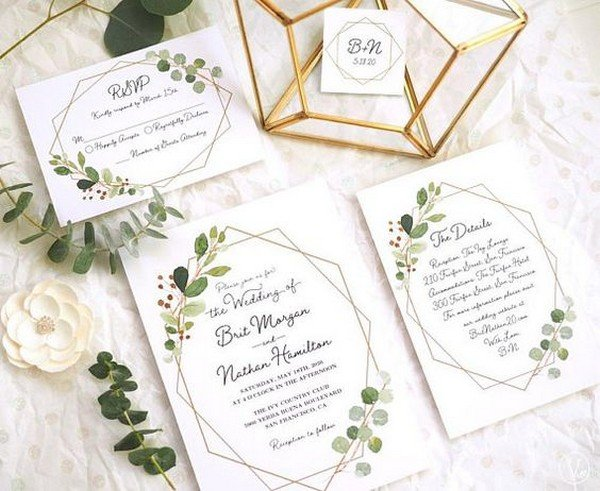 geometric wedding invitations with greenery