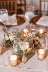gold geometric terrarium wedding centerpiece ideas with garden floral and candles