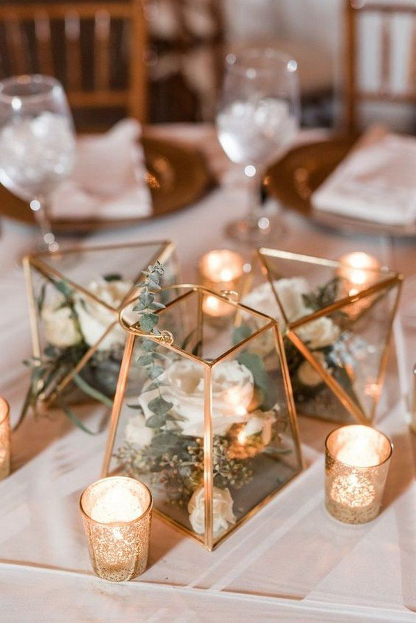 gold geometric terrarium wedding centerpiece ideas with garden floral and candles
