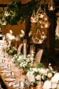 hanging geometric candle holders wedding decoration ideas