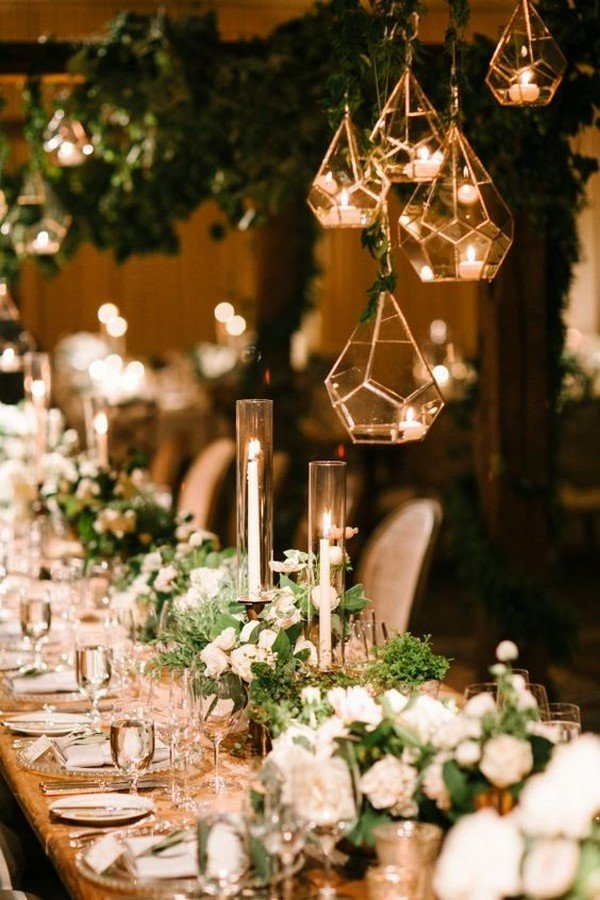 hanging geometric candle holders wedding decoration ideas
