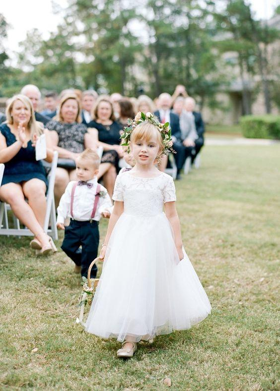 lace and tulle cute flower girl dress