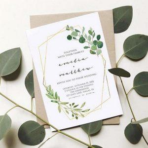 minimalist geometric wedding invitation for 2018