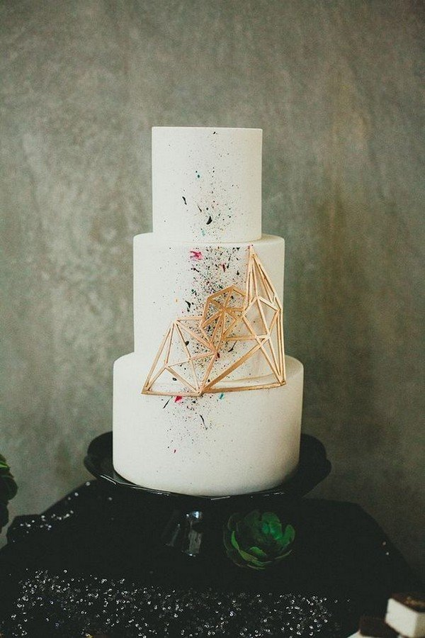 modern chic geometric wedding cake