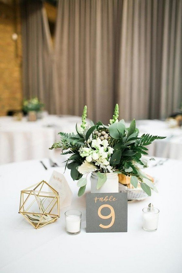 modern chic wedding centerpiece ideas with geometric