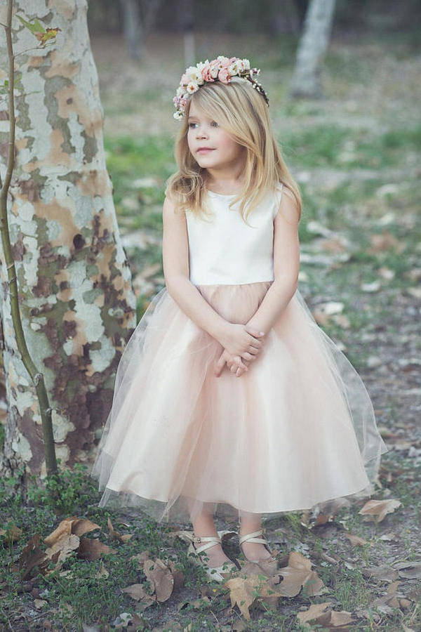 satin and tulle flower girl dress