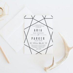 simple chic black and white geometric wedding invitations