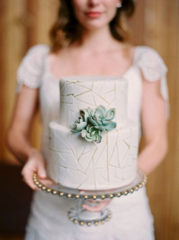 simple chic geometric wedding cake with succulents