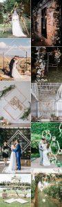 trending geometric wedding backdrop decoration ideas