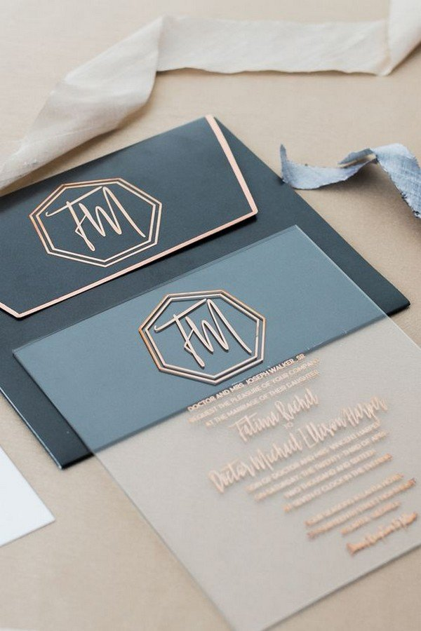 unique geometric wedding invitations